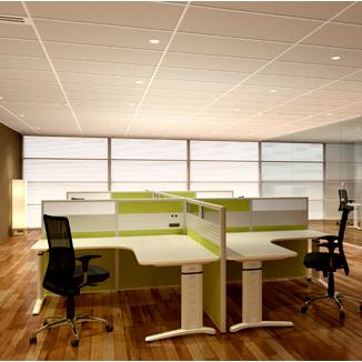 customised office desk and office chairs for four people