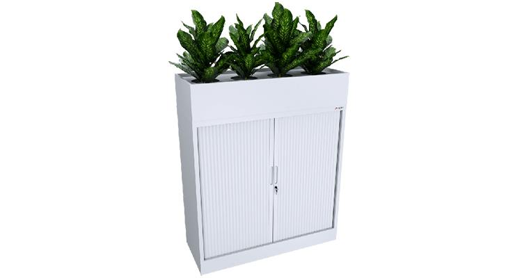 Office furniture: white storage cupboard with fake plants